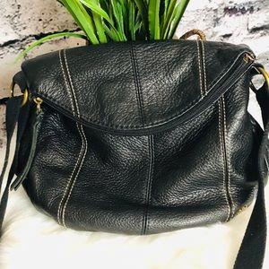 The Sak Black Deena Flap Crossbody Bag.